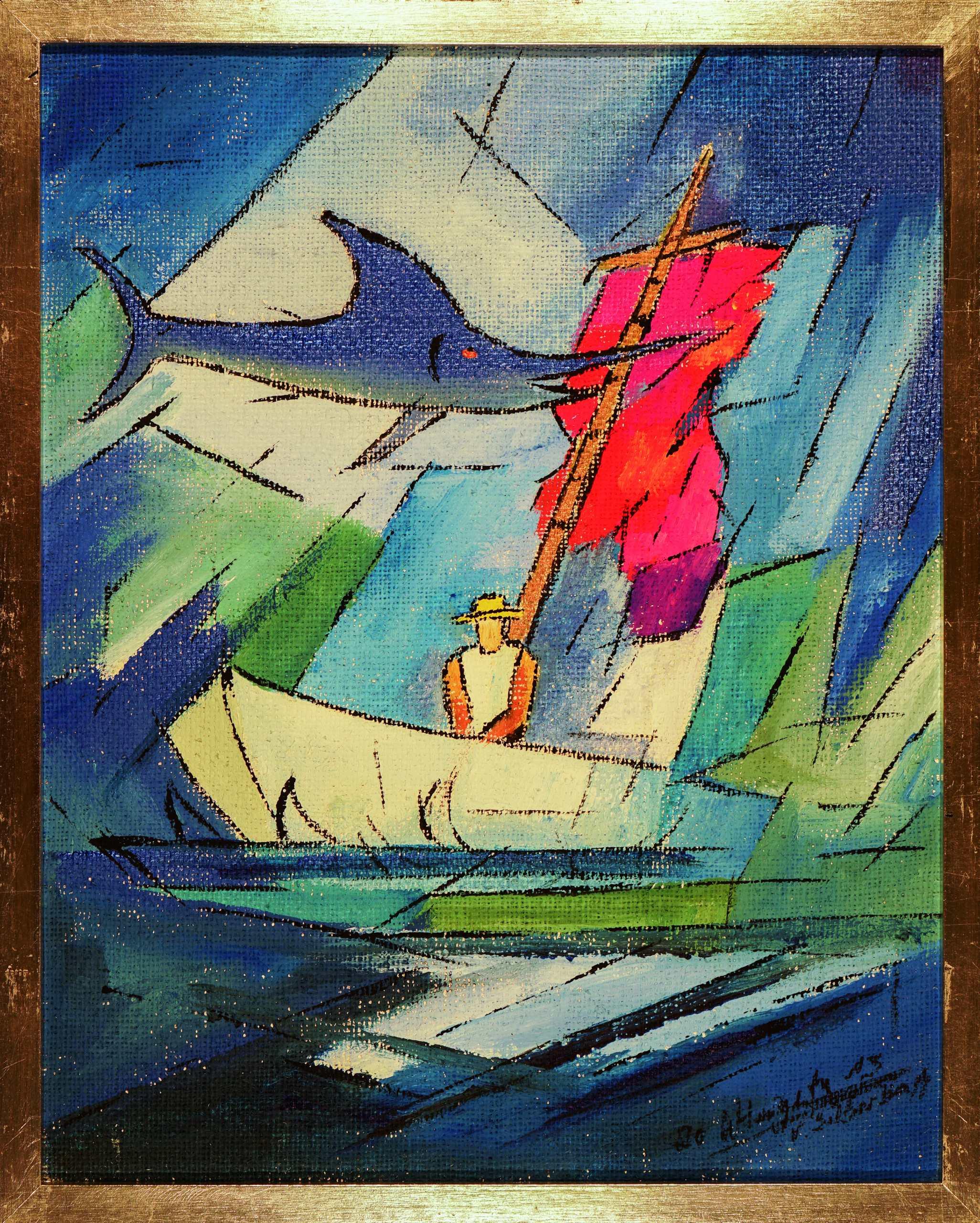 Triptychon Ölgemälde Der alte Mann und das Meer (1) von Wolfgang Hergeth