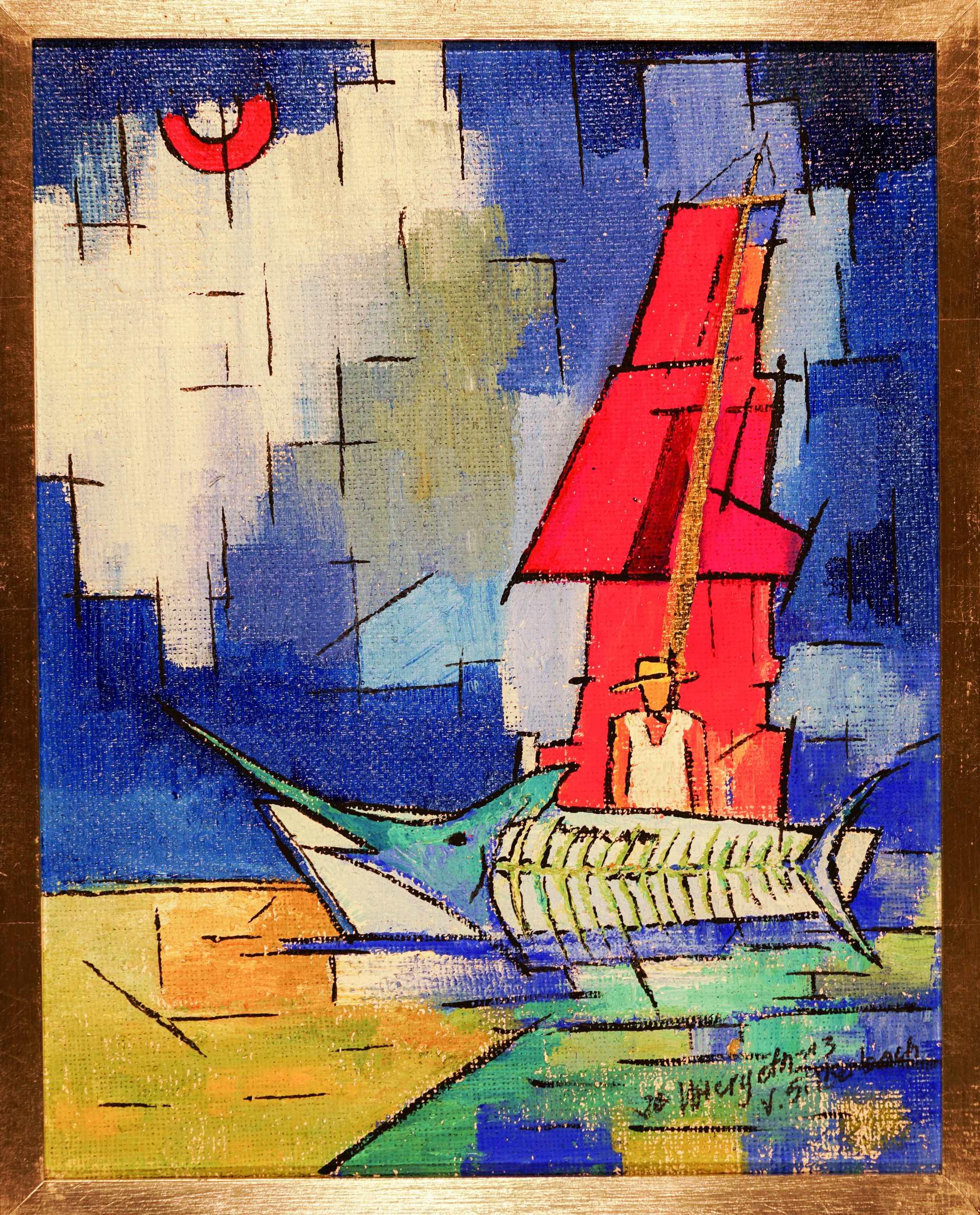 Triptychon Ölgemälde Der alte Mann und das Meer (3)