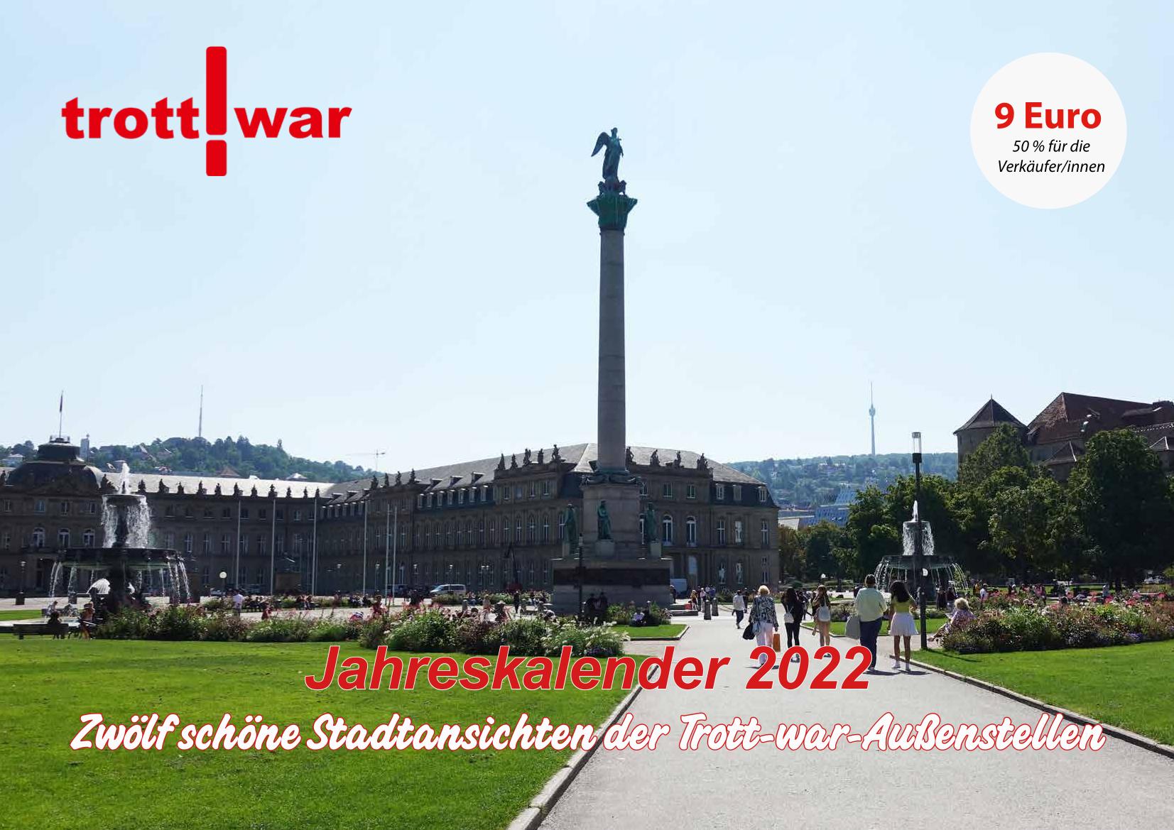 Titelseite des Trott-war Jahreskalenders 2022 mit Blick über den Stuttgarter Schlossplatz zum Fernsehturm