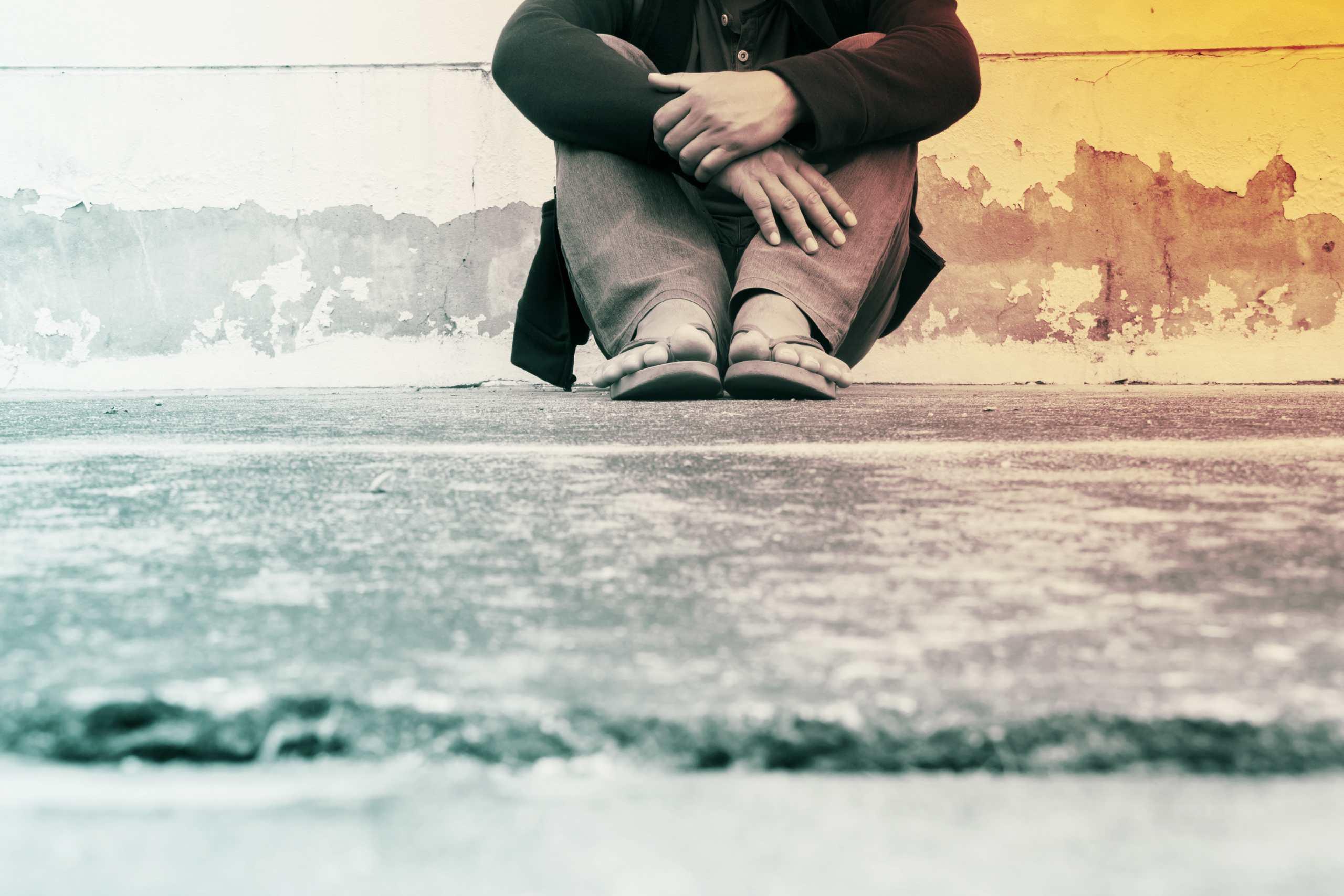 Mensch am Boden