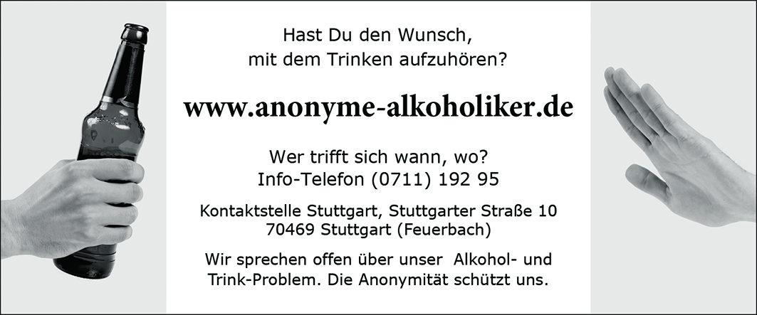Anzeige Anonyme Alkoholiker