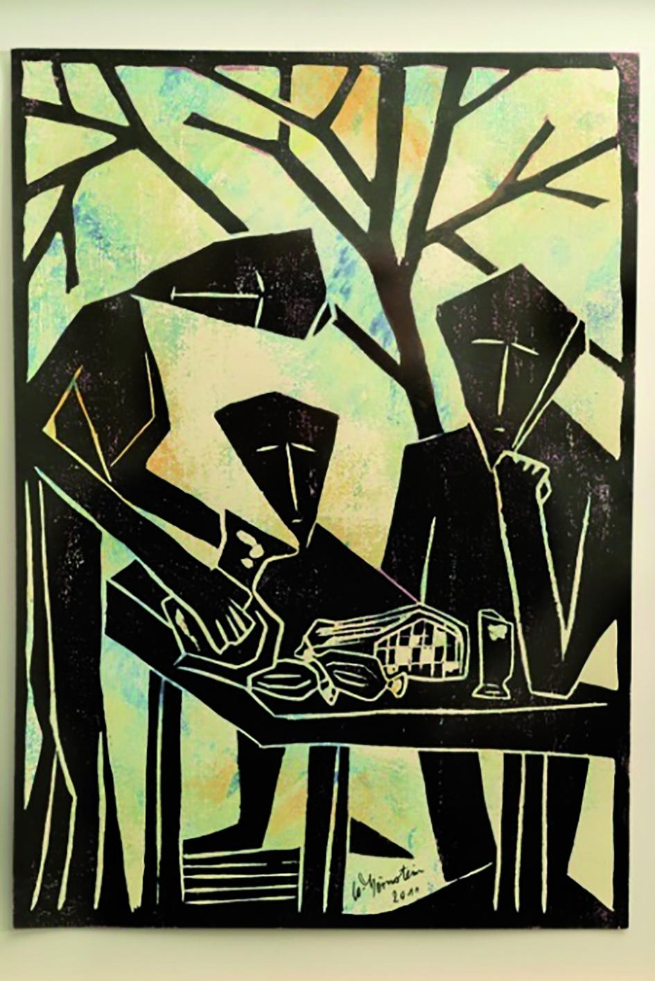 Holzdruck Am Tisch von Walter Hörnstein
