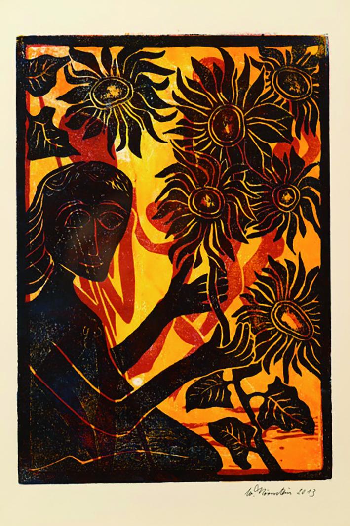 Holzdruck Sonnenblumen Walter Hörnstein