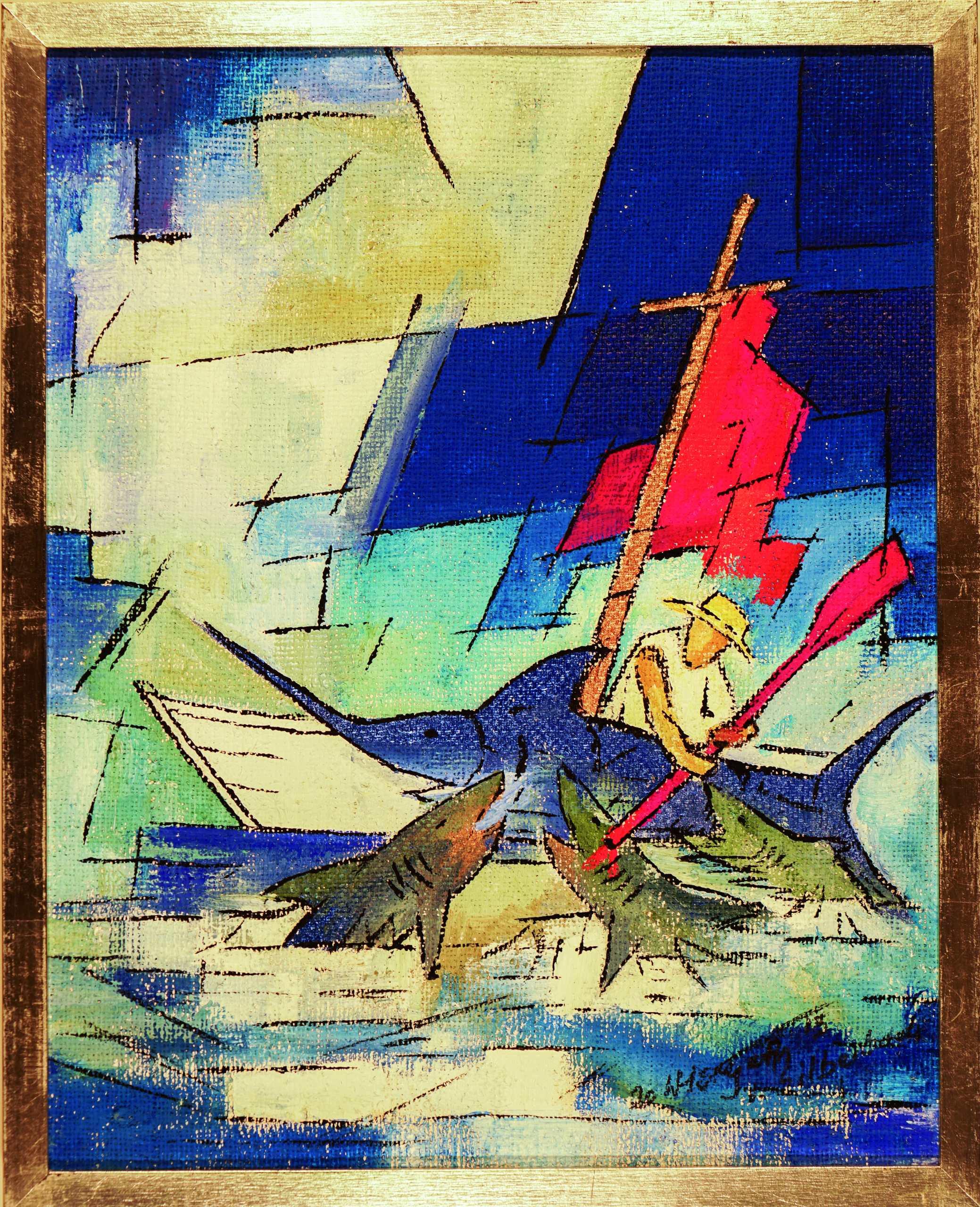 Triptychon Ölgemälde Der alte Mann und das Meer (2) von Wolfgang Hergeth