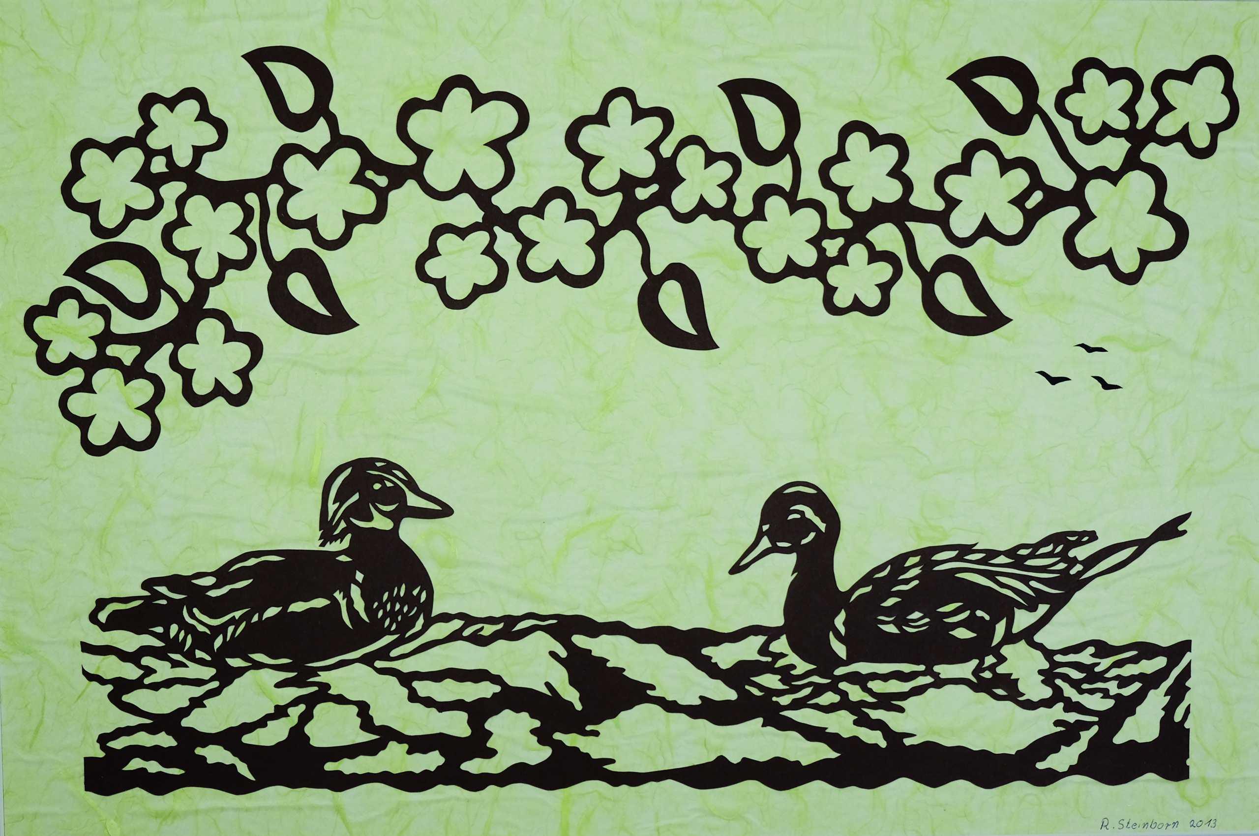 Scherenschnitt Entenpaar von Roland Steinborn