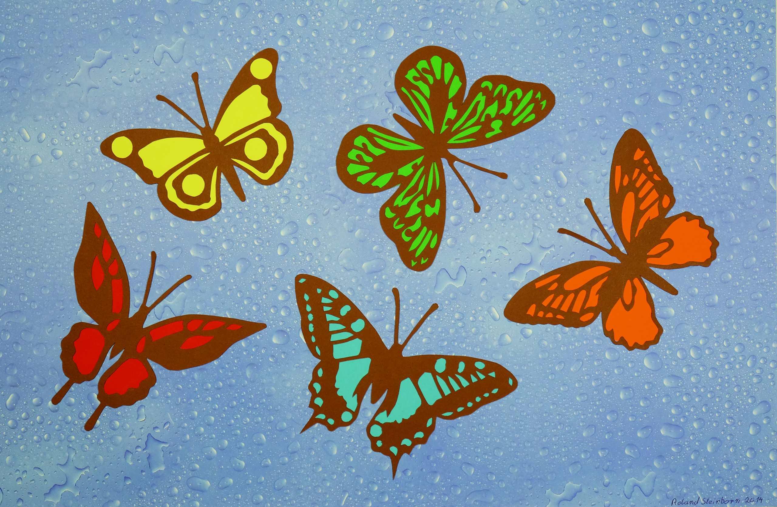 Scherenschnitt Schmetterlinge auf Wasser von Roland Steinborn